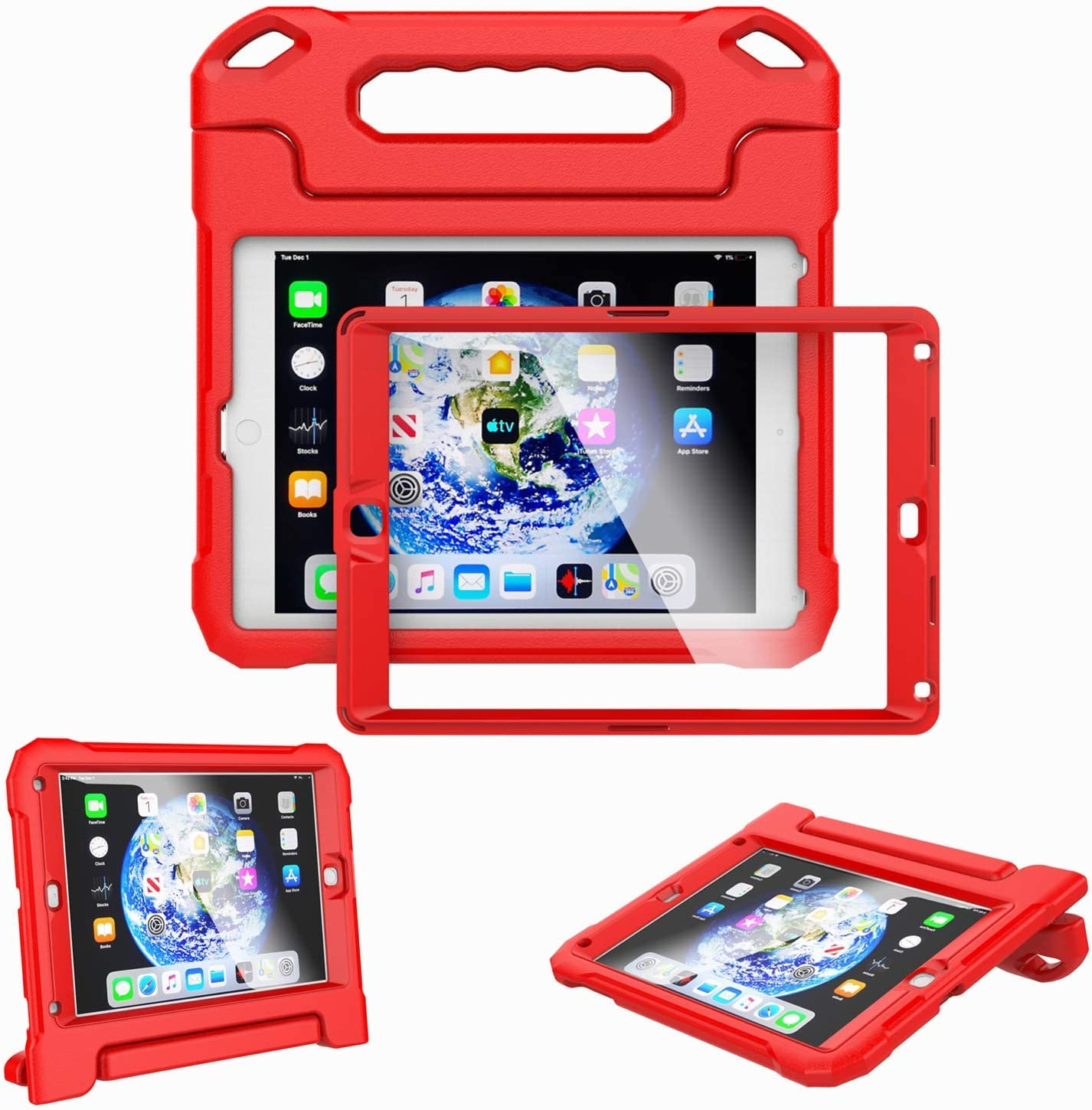 Kids Case for iPad 9.7-inch 2018 6th Generation / 2017 5th Generation & iPad 9.7-inch Air / Air 2 - Built-in Screen Protector Shockproof Light Weight Handle Convertible Stand Cover (Red)