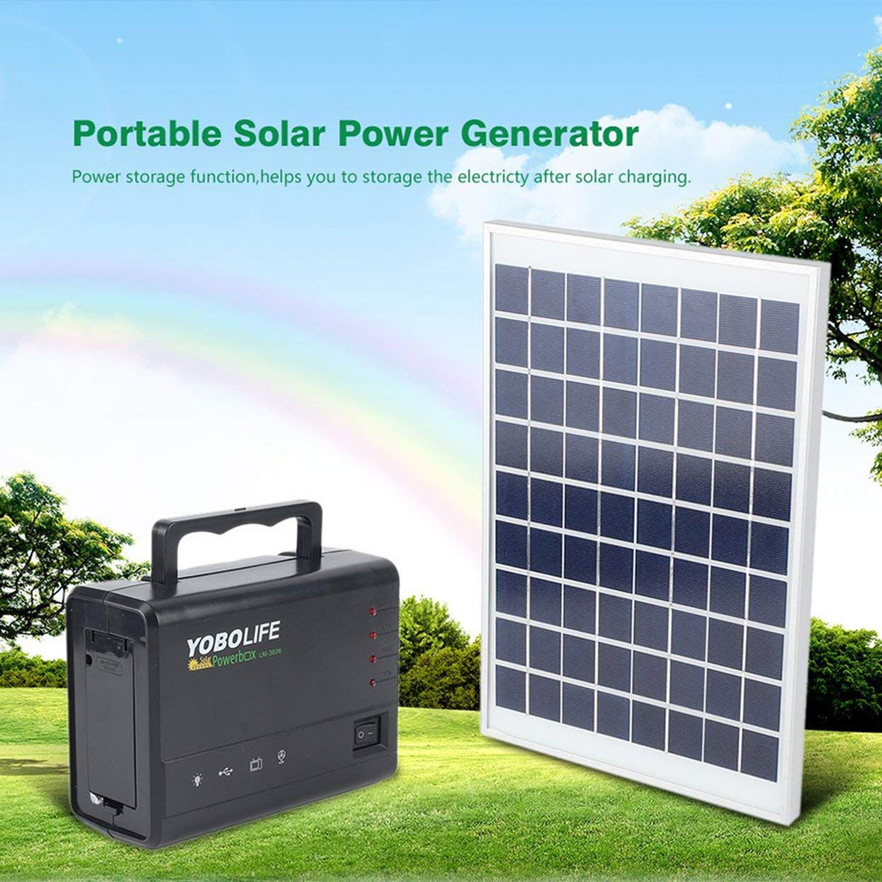 Portable Solar Panel Power Storage Generator LED Light 4 USB Charger Home System by Foreverharbor (Image #1)