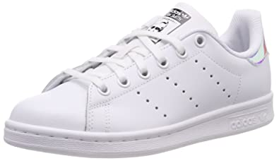promo code e97eb 73f0b adidas Youth Stan Smith Leather White Metallic Silver Trainers 4 US