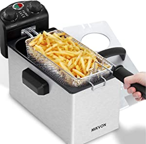 MIKVON Electric Fryer Stainless Steel Double-cylinder Electric Fryer Household and Commercial Electric Fryers with Basket Desktop Fryers French Fries Fried Chicken and Other Fried Foods