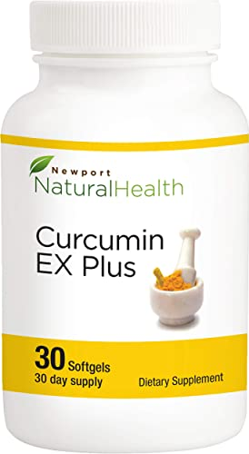 Curcumin Ex Plus 40x More Bioavailable Turmeric Curcumin, Cavacurmin, Antioxidant, Heart Health, Natural Anti-inflammatory, Resveratrol, Red Wine Polyphenols, 500mg 30 Softgels 30-Day Supply