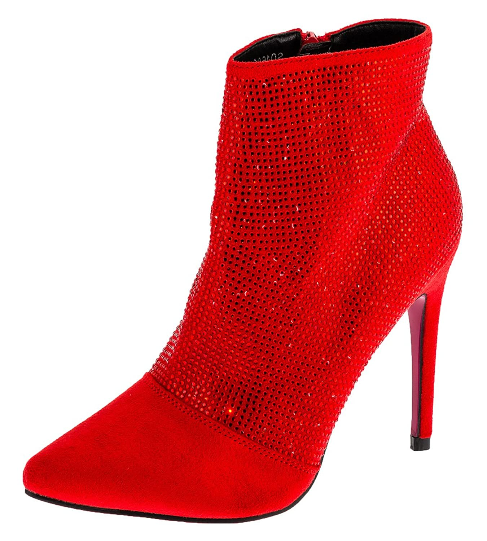 Shayenne Damen Stiefeletten Stiletto Stiefel High Heels Kurzschaft Boots Pumps Schuhe Rot
