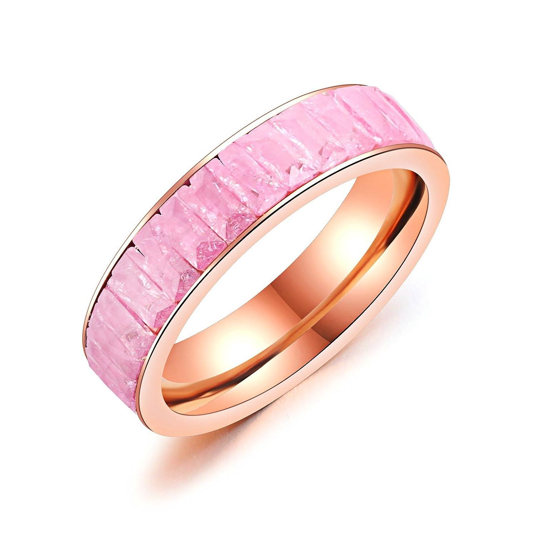 Amazon.com: Anooe Women Rings Stainless Steel Wedding Ring Hoop Pink ...