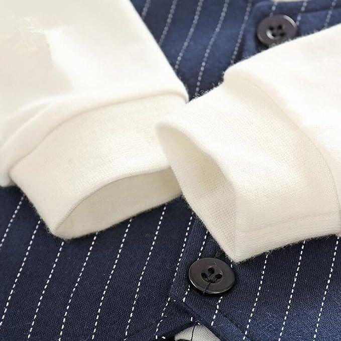 LJYH Newborn Boys Long Sleeve Gentleman Romper Baby boy Bowtie One-Piece Denim Stripe Jumpsuit