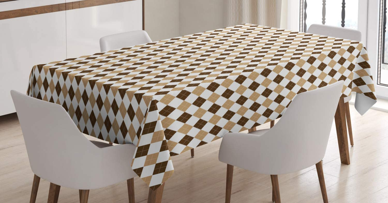 """Ambesonne Vintage Tablecloth, Geometric Motif in Earth Tones with Repeating Rhombuses Argyle, Dining Room Kitchen Rectangular Table Cover, 60"""" X 84"""", Chocolate Sand"""