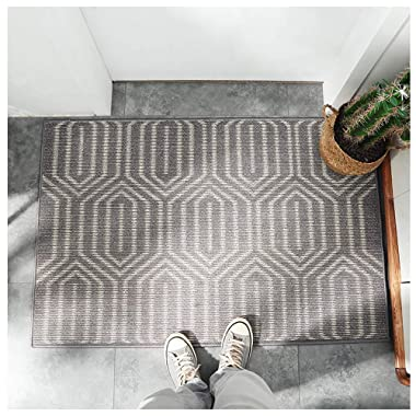 "Cool Stylish Outdoor Indoor Welcome Fiber Front Door Mat 20""x32"" with Non Slip Rubber Backing, Machine Washable Dog Mat, Soft Entryway rug to scrap Mud,Dirt,Snow,Grass,Water from Shoes! (Hexagon)"