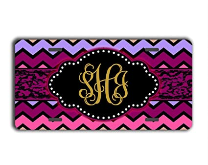 Personalized car tag Front License Plate vanityCar Auto Plate Cover Jesspad Monogrammed License Plate 12 X 6 Inches Cheetah Print with hot Pink and Your Monogram