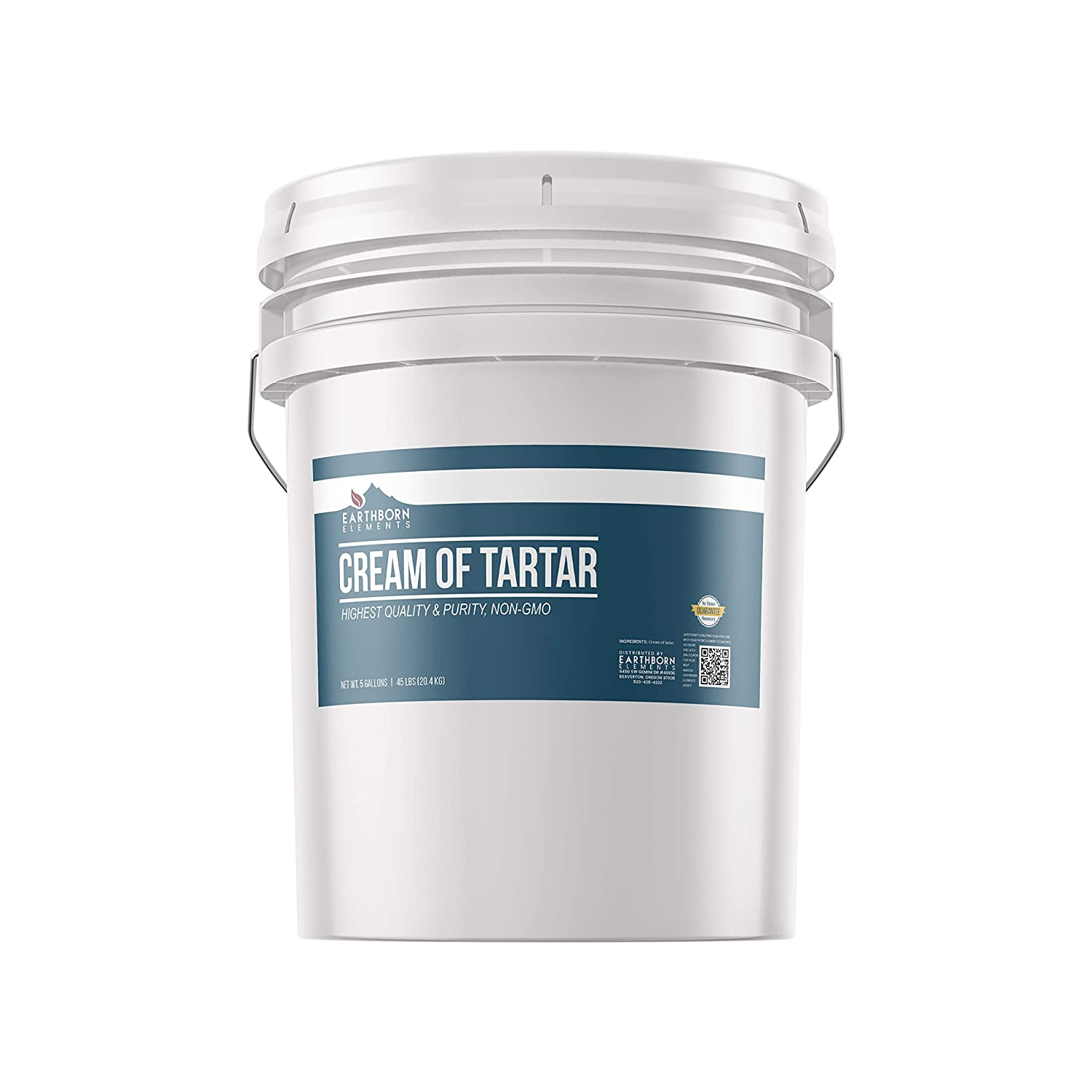 Cream of Tartar (5 Gallon) 100% Pure, Baking Additive, Non-GMO & Gluten-Free, Natural, Packaged in a Resealable Bucket by Earthborn Elements