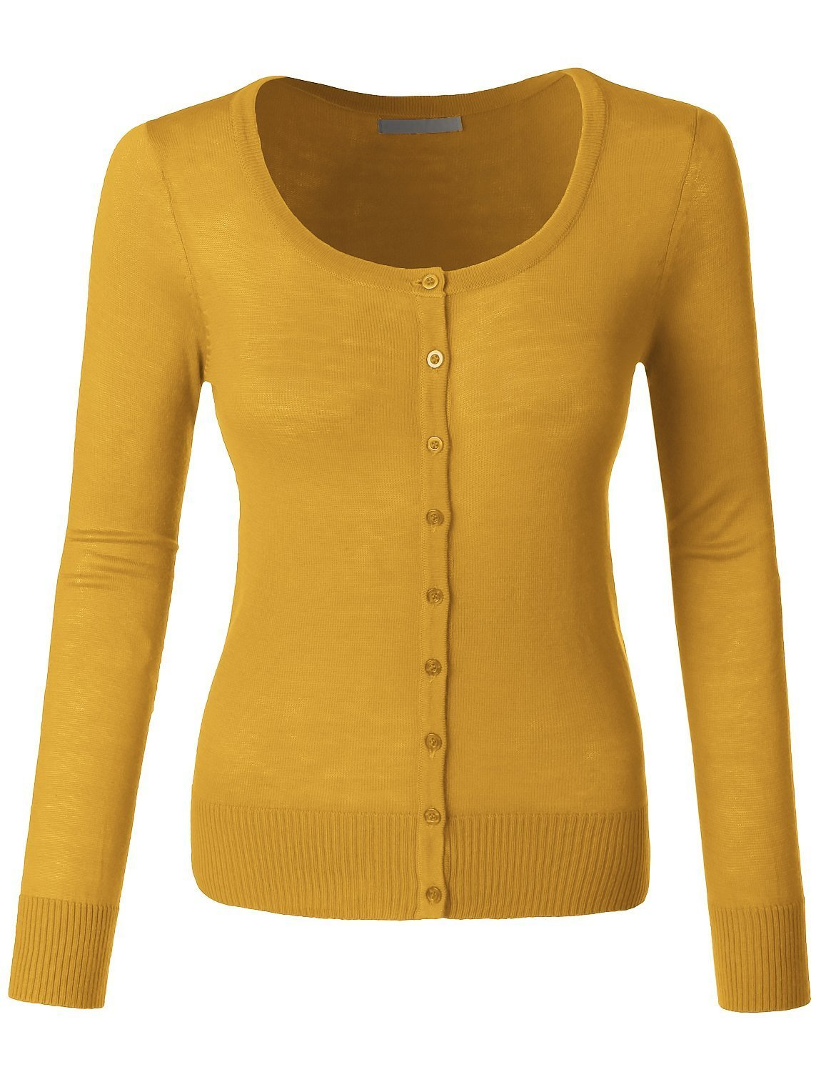 LE3NO Womens Lightweight Round Neck Fine Knit Cardigan Sweater With Stretch