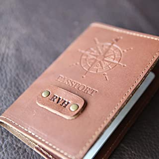 product image for The Expedition Personalized Leather Passport Cover in Brown