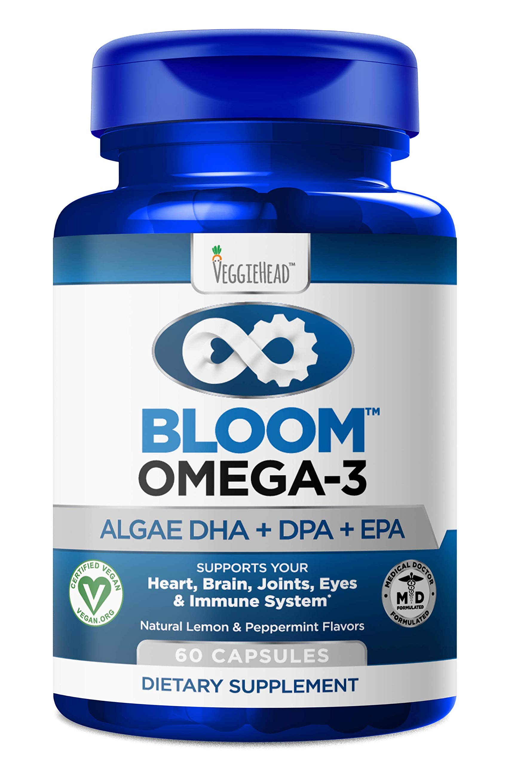 Vegan Omega 3 - Better Than Fish Oil! Plant Based, Algae DHA EPA DPA Supplement. Supports Heart, Brain, Joint, Prenatal & Immune System. No Carrageenan. Natural Lemon Flavor, 60 Vegetarian Capsules