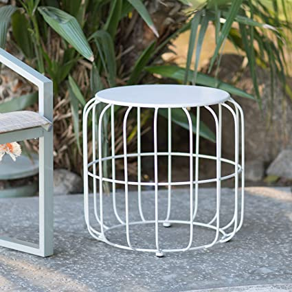 Outdoor Accents White Metal Wire Cage Style Round Drum Patio Side Table End  Table Accent Table
