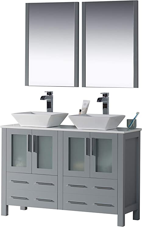 Amazon Com Blossom Sydney 48 Inches Double Bathroom Vanity Vessel Ceramic Sink With Mirror All Wood Metal Grey 001 48 15d 1616v Kitchen Dining