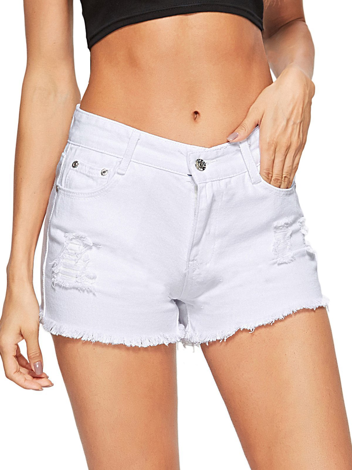 Beluring Sexy High Rise Pockets Denim Jeans Shorts for Women White Size 10