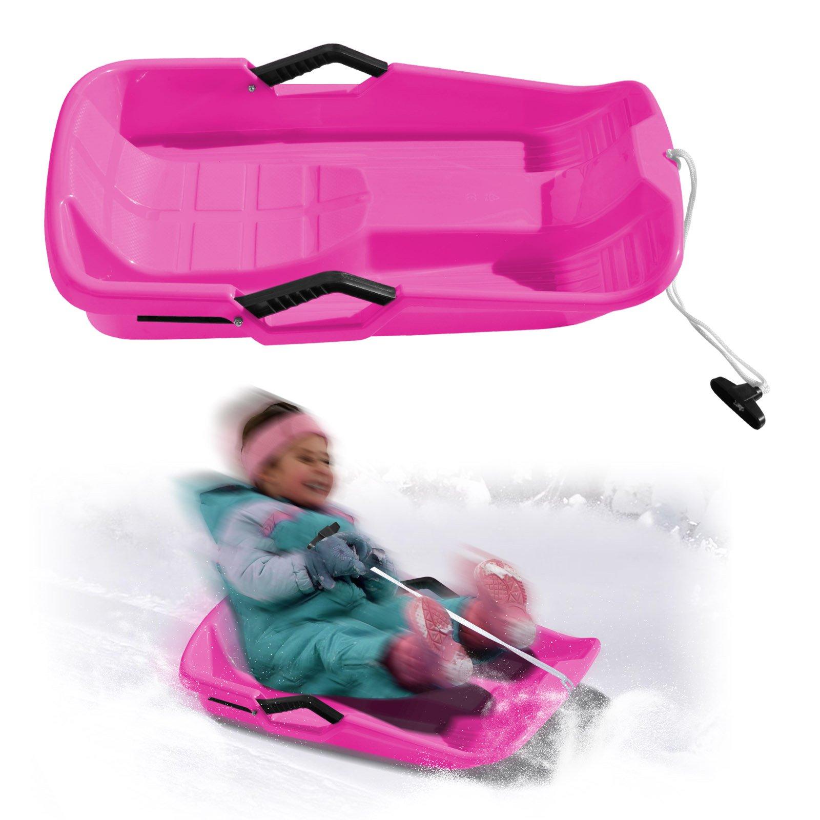 BenefitUSA Snow Kids Winter Toboggan Sled Downhill Sprinter Sledding Board Seat (Pink)