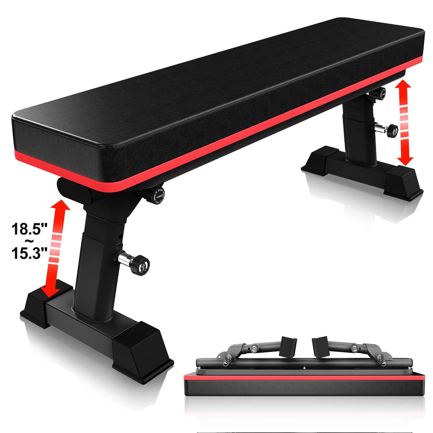 YouTen Adjustable Bench for Body Workout Fitness, 5Positions Flat Bench, Abs Exercise Weight Bench with Steel Frame Black by YouTen