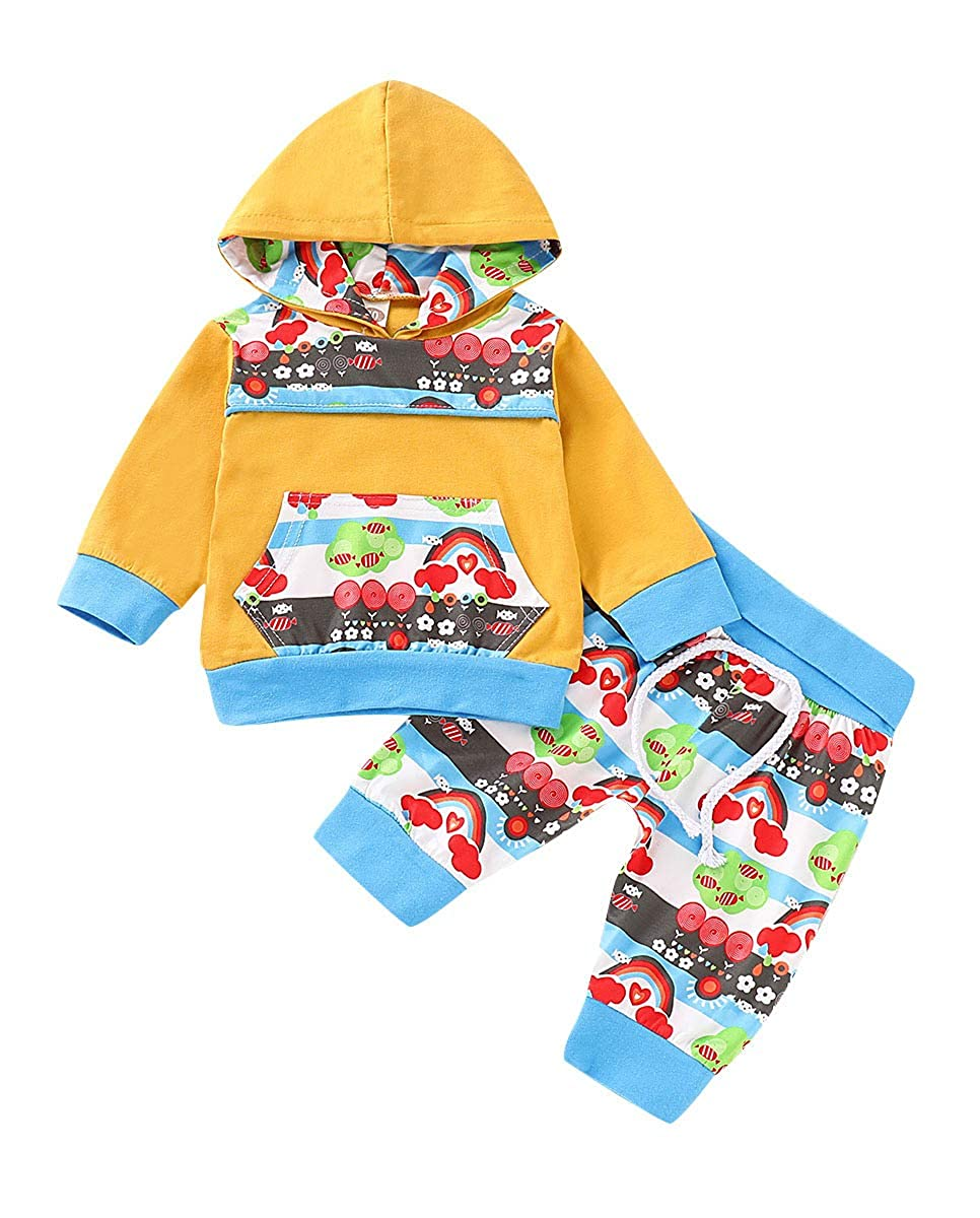 Toddler Baby Boy Girl Rainbow Stripe Pocket Hoodie Tops Pants Outfit Clothes Set