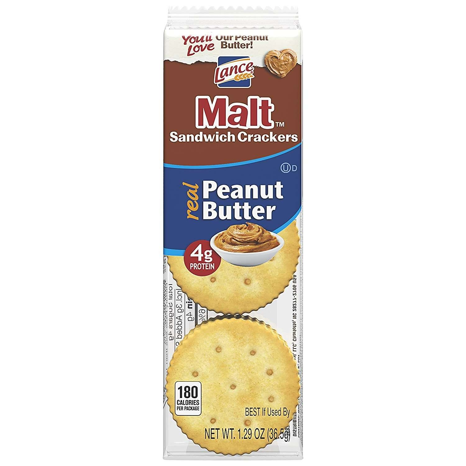 Lance Sandwich Crackers, Malt with Peanut Butter, 8-Count Boxes (Pack of 14) by Lance (Image #4)