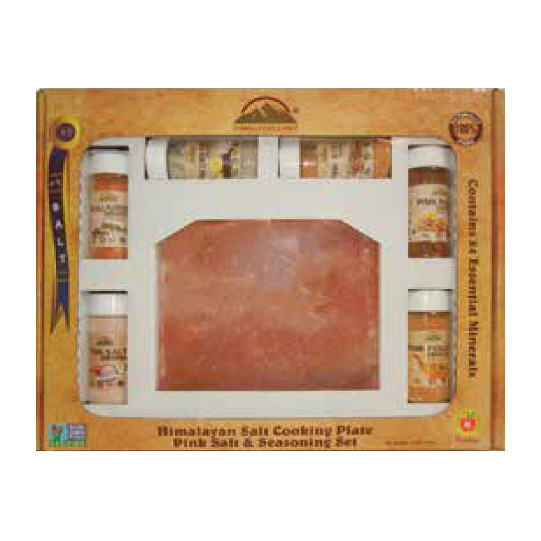 Himalayan Chef Pink Himalayan Salt Cooking Plate & Seasoning Set, 176 oz (11 lbs),