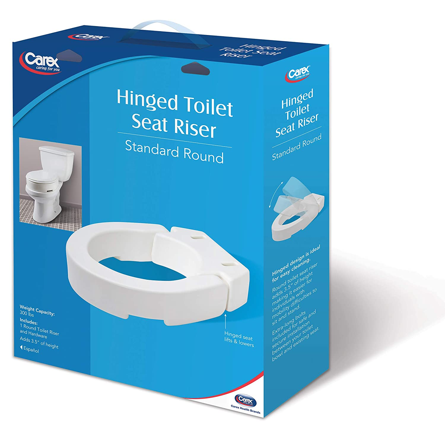 Amazon.com: Carex Hinged Toilet Seat Riser, Adds 3.5 Inches of ...