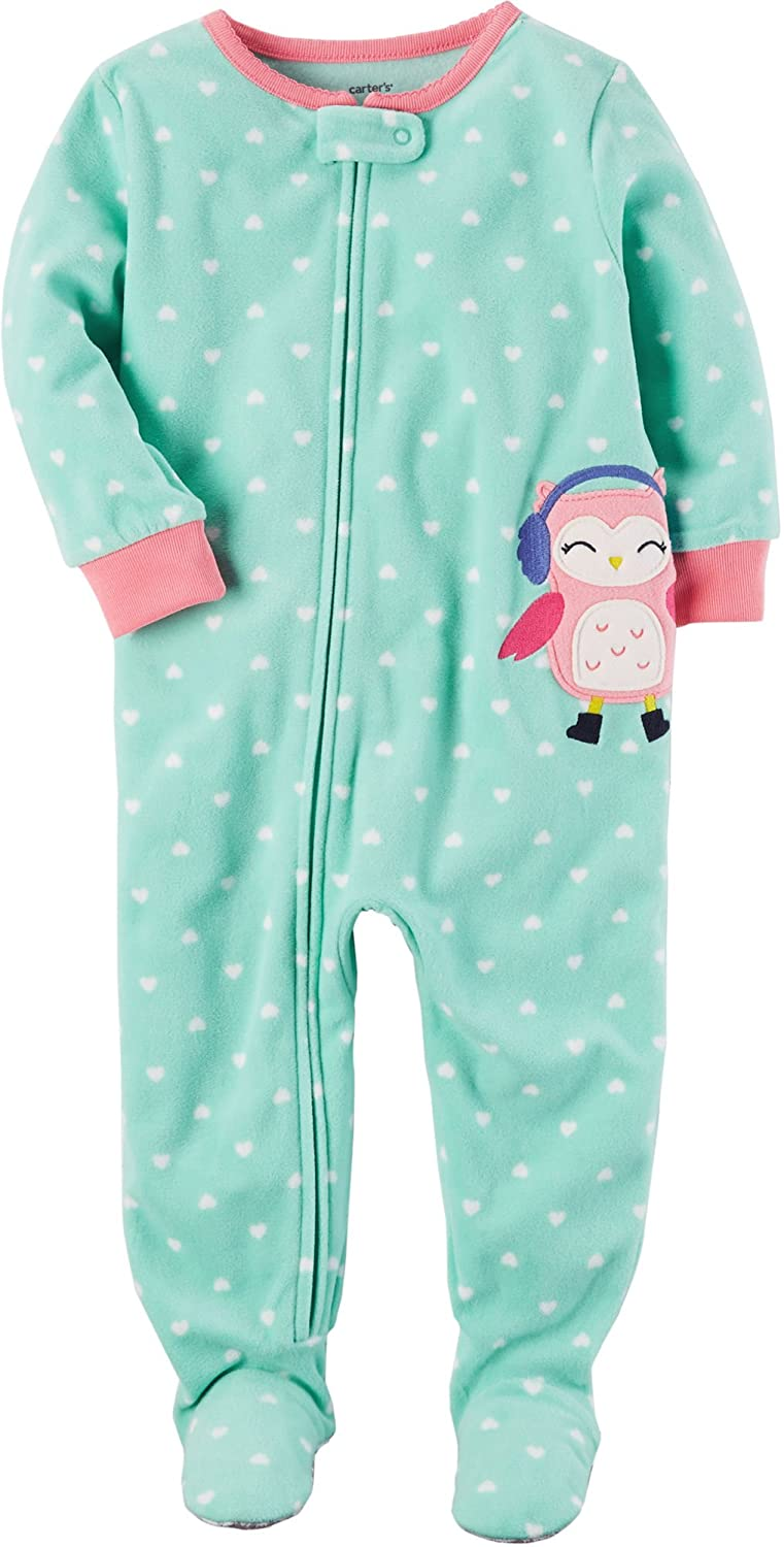 Carter's Girls' 12M-14 One Piece Owl Earmuffs Pajamas Carters