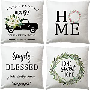 7COLORROOM 4Pack Farmhouse Floral Decorative Pillow Covers with Vintage Truck Home Sweet Home Cushion Cover Fresh Flowers Market Pillowcases Housewarming Gifts 18x18 Inches (Black Car)