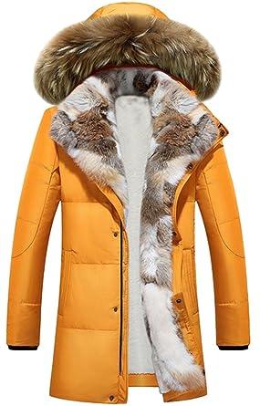 huge selection of b734d 4f808 Herren Winterjacke Lange Dick Jacke Parka 90% Daunen Mit Kapuze Mäntel Rex  Pelz gefüttert Steppjacke Wärmejacke Mens Warm Jacket