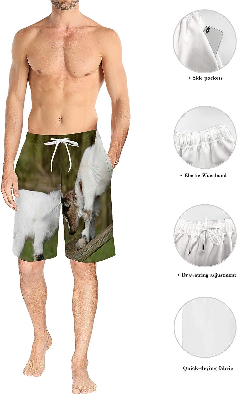 Voguard Mens 3D Printed Swim Trunks Merry Christmas Deer Summer Beach Shorts with Elastic Waist Drawstring M