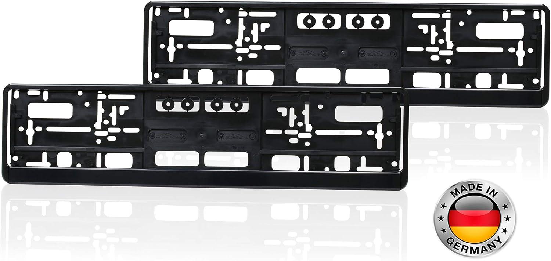 autooptimierer.de A1252 Lot de 2 Supports de Plaque dimmatriculation Noir Stable R/ésistant aux intemp/éries
