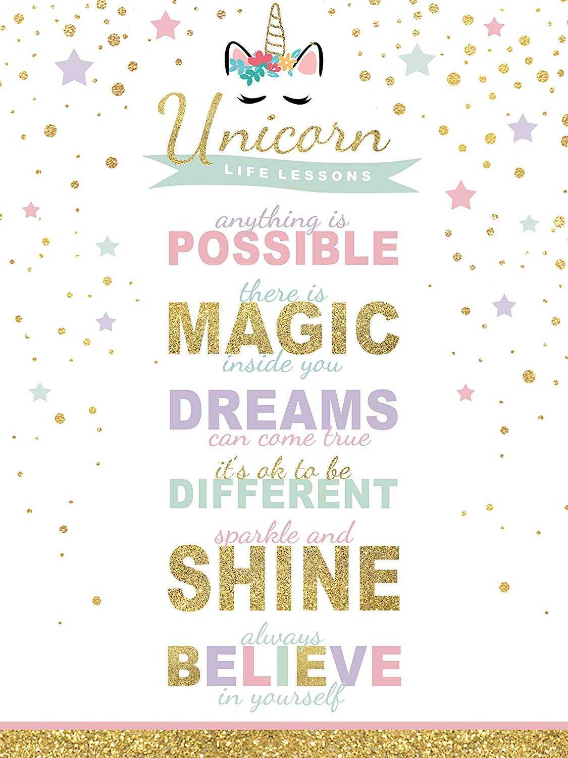wallsthatspeak Rainbow Sparkle Unicorn Canvas 12x16 Inch Girl's Room Nursery Wall Decor 3