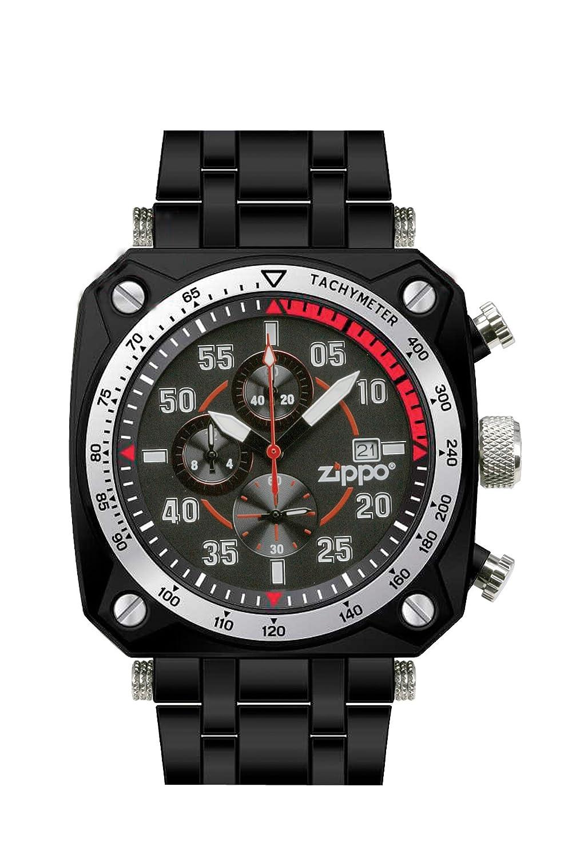 Zippo Herren-Armbanduhr Chronograph Edelstahl schwarz 45019