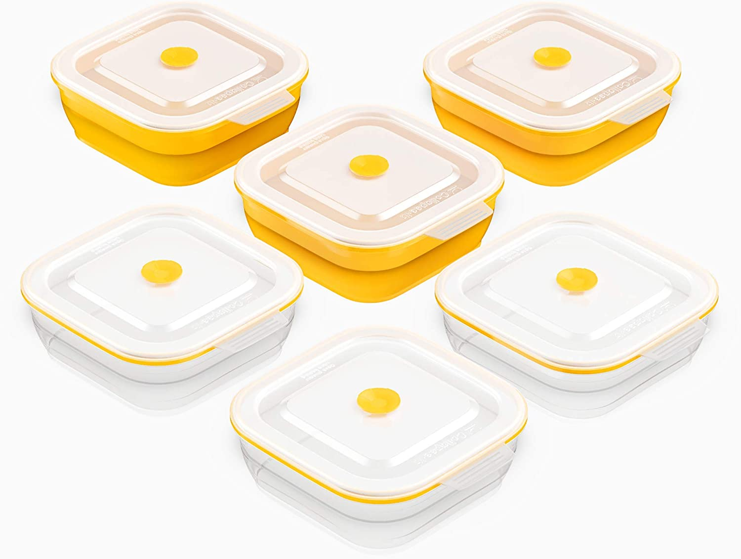 Collapse-it Silicone Food Storage Containers - BPA Free Airtight Silicone Lids Collapsible Lunch Box Containers - Oven, Microwave, Freezer Safe (Yellow (6) 2-Cup Set)