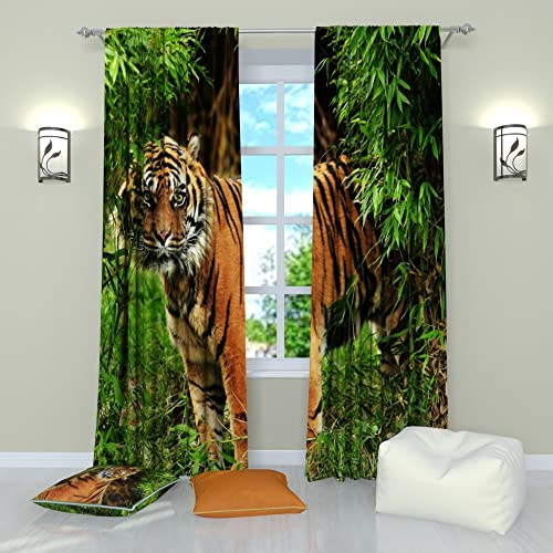 Factory4me Animal Curtains Tiger Sherkhan's Look. Window Curtain Set of 2 Panels Each W52 x L96 Total W104 x L96 inches Drapes