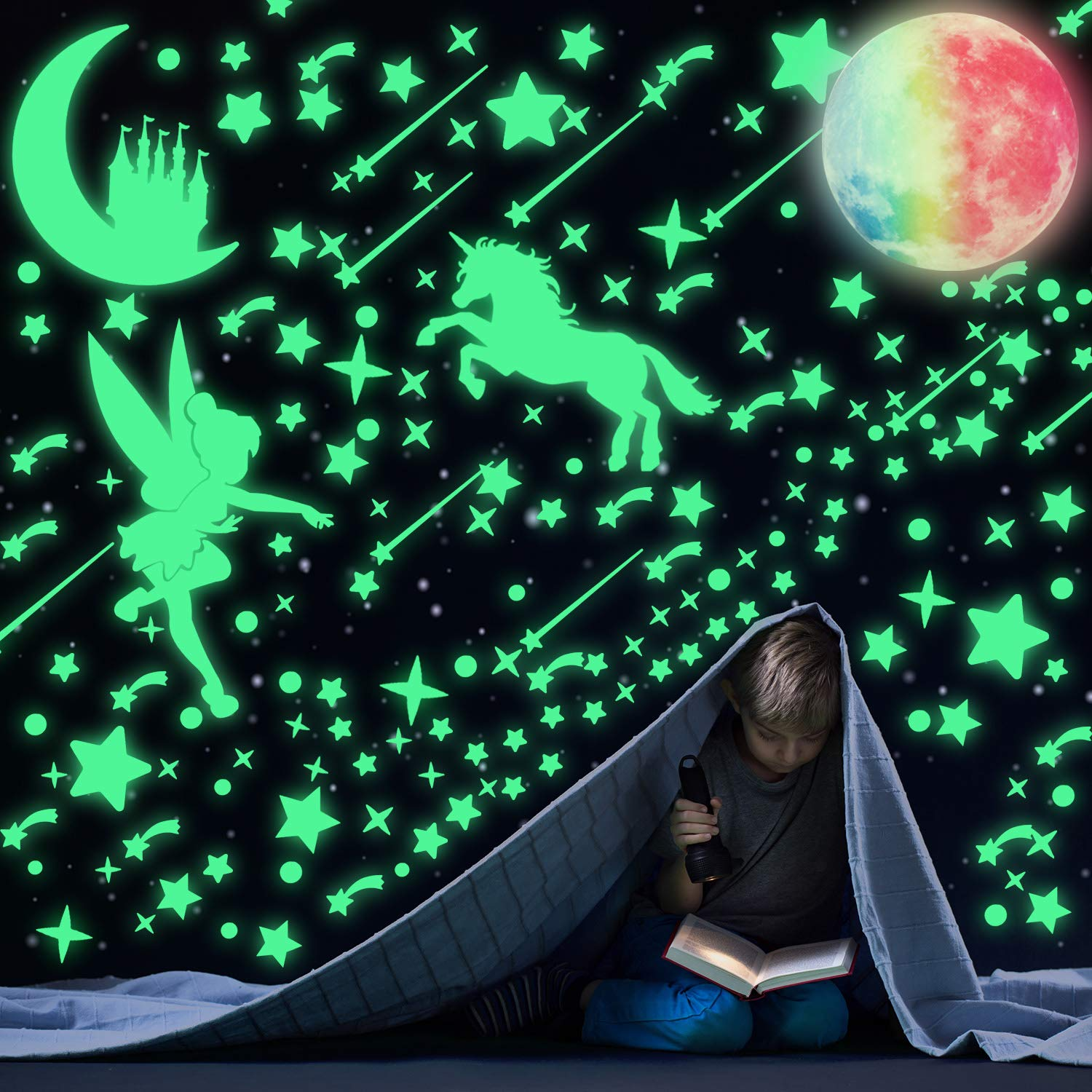 321 Pieces Luminous Dots Stars Stickers Fairytale Glowing Unicorn Ceiling Decal Set and 1 Piece Glowing Colorful Moon Fluorescent Moon Castle Wall Decor Sticker for Kids Nursery Bedroom DIY
