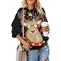 SZIVYSHI Long Sleeve Crewneck Festival Christmas Reindeer Snowflake Loose Fit Sweatshirt Pullover T-Shirt Top