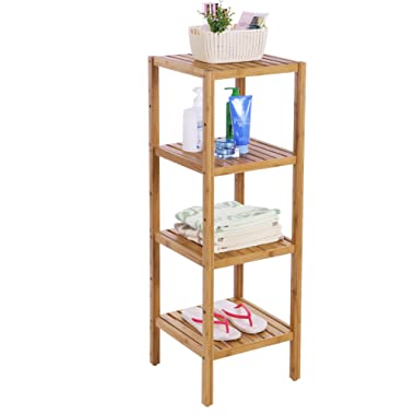 BEWISHOME Bamboo Bathroom Shelf 4 Tier DIY Multifunctional Utility Storage Rack Plant Flower Bathroom Stand Narrow Shelving Unit Free Standing Shelf Units for Bathroom Bedroom Balcony Kitchen KZW04Y