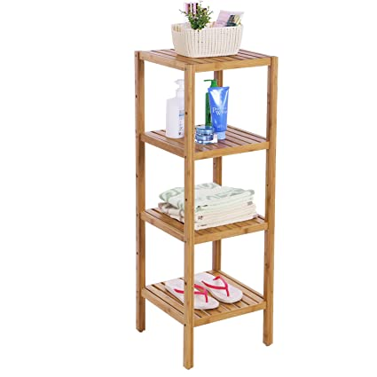 bewishome bamboo bathroom shelf 4 tier diy multifunctional utility storage rack plant flower stand narrow shelving - Bathroom Shelf Unit