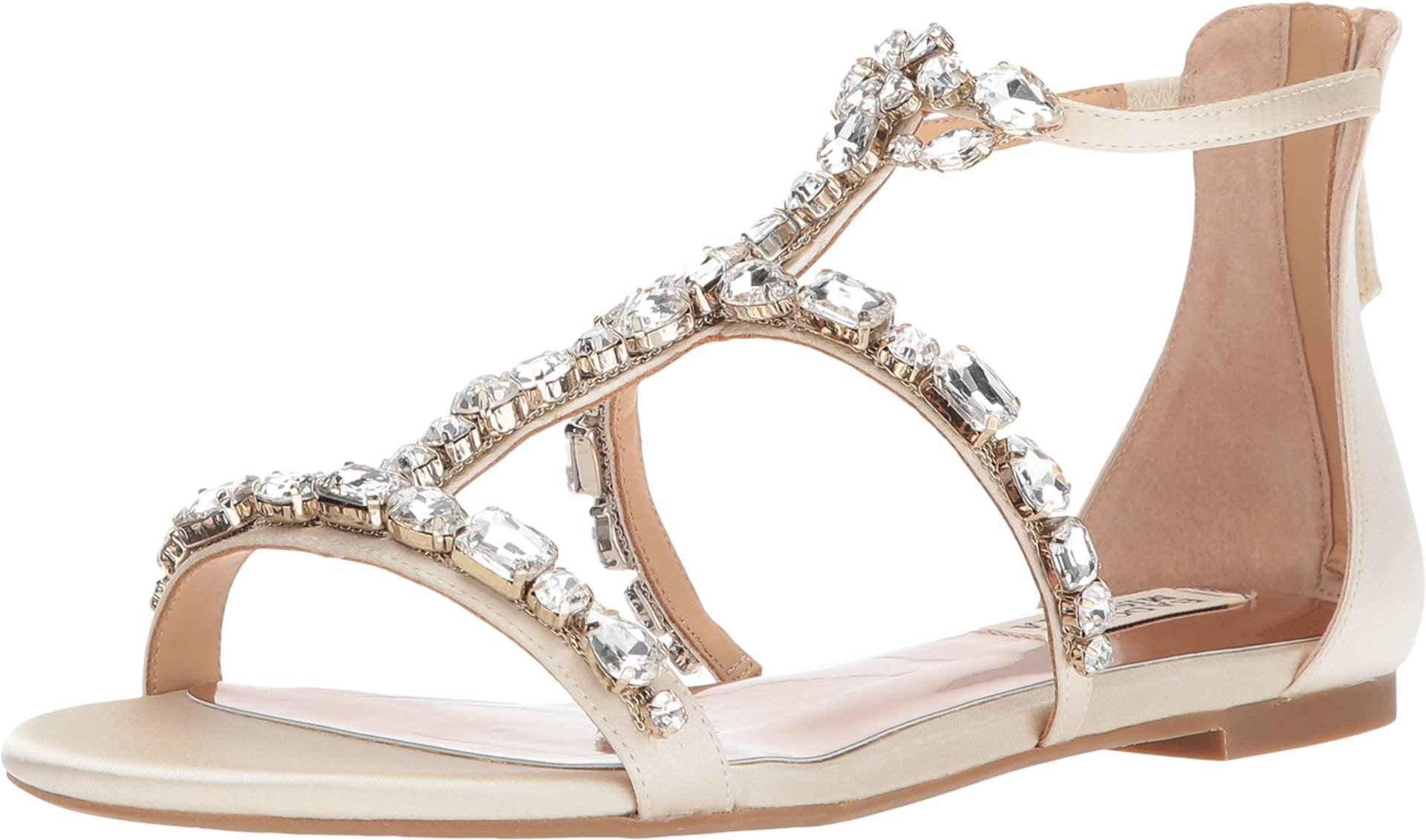 Badgley Mischka Women's Waren Flat Sandal, Ivory, 8.5 M US