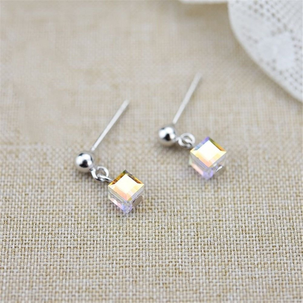 Ling Studs Earrings Hypoallergenic Cartilage Ear Piercing Simple Fashion Earrings Ear Jewelry Crystal Earrings Simple Short 925 Sterling Silver by Ling (Image #2)