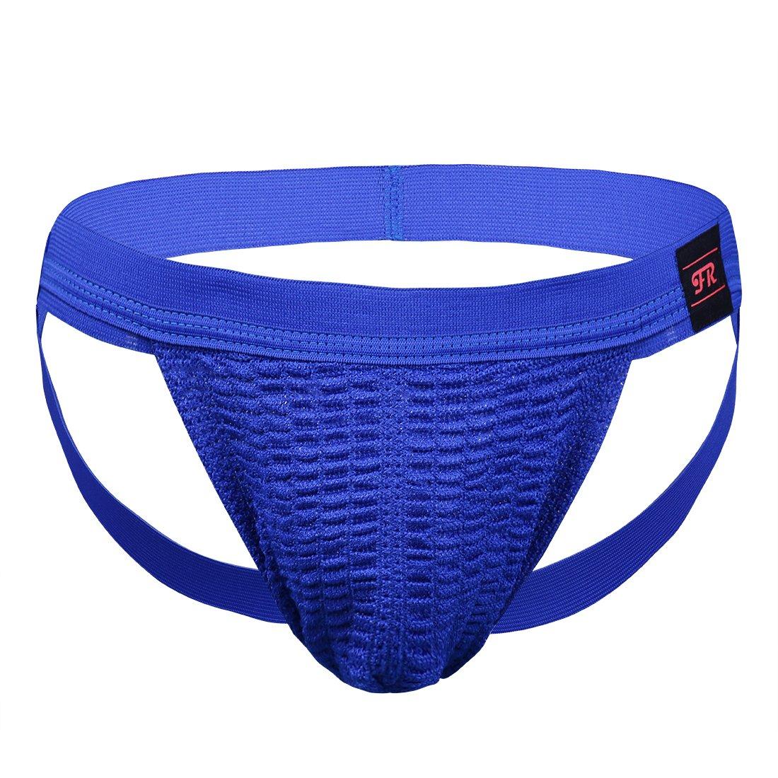 Freebily Man's Athletic Supporter Jockstrap Thongs Sports Briefs Underwear # Blue Large(Waist:32.0-47.0''/82-102cm)