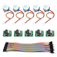 TIMESETL 11-Teilig Schrittmotor Stepper Motor für Arduino - 5pcs 28BYJ-48 ULN2003 5V Stepper Motor + 5pcs ULN2003 Treiber Driver Board + 40Pin Dupont Wire (Male to Female) Breadboard Jumper Wires