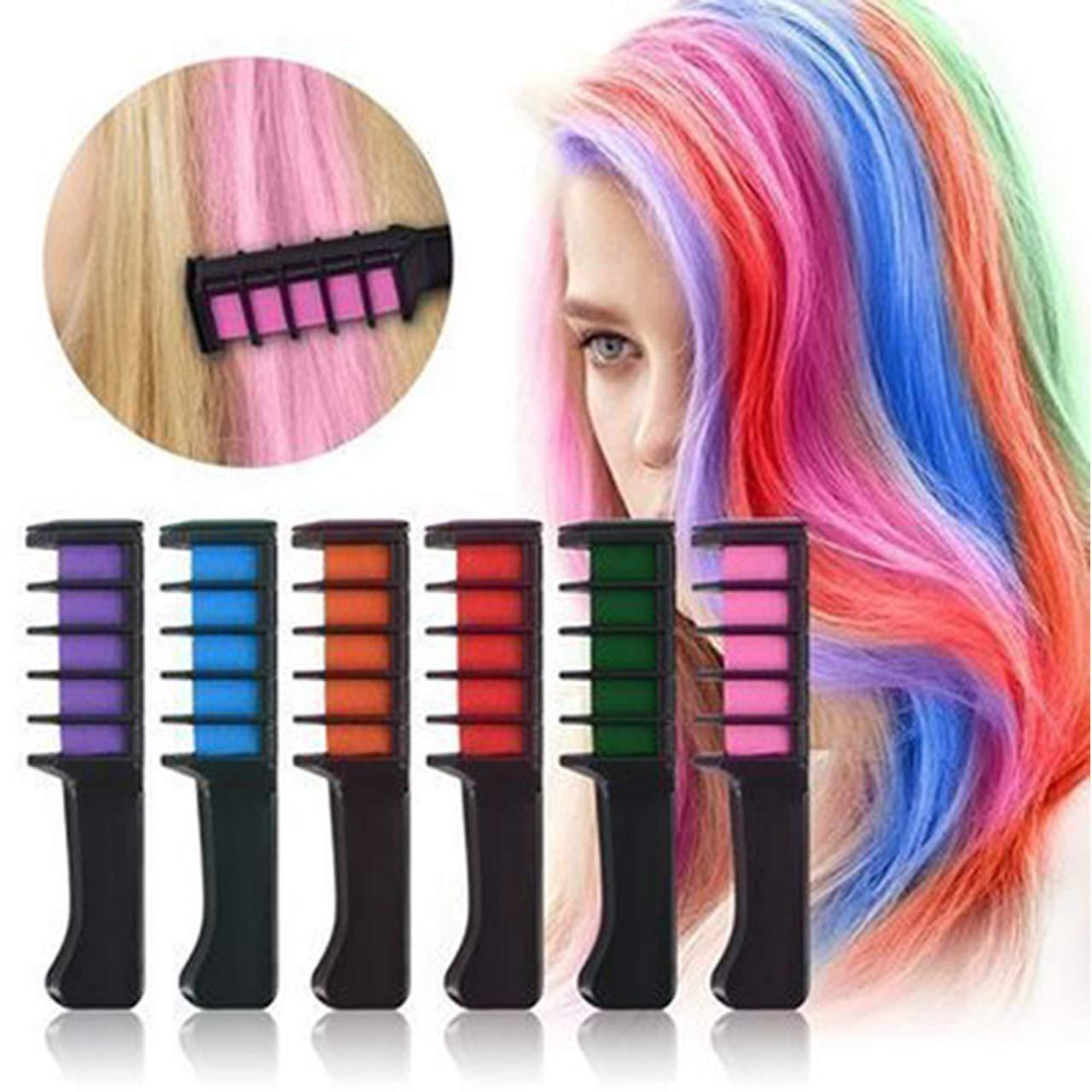 CCbeauty Hair Chalk Comb 6 Color Shimmer Long Lasting Temporary Hair Color Cream Washable Hair Dye Hair Chalk with Brush