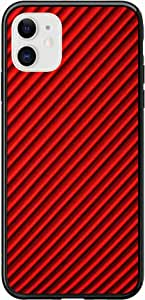 Okteq Case for iPhone 11 Case Shock Absorbing PC TPU Full Body Drop Protection Cover matte printed - red black lines By Okteq
