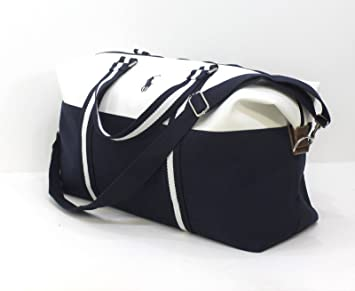 cb6fb879da2 RALPH LAUREN LARGE MENS HOLDALL, GYM, TRAVEL, WEEKEND BLUE   WHITE BAG   Amazon.co.uk  Beauty