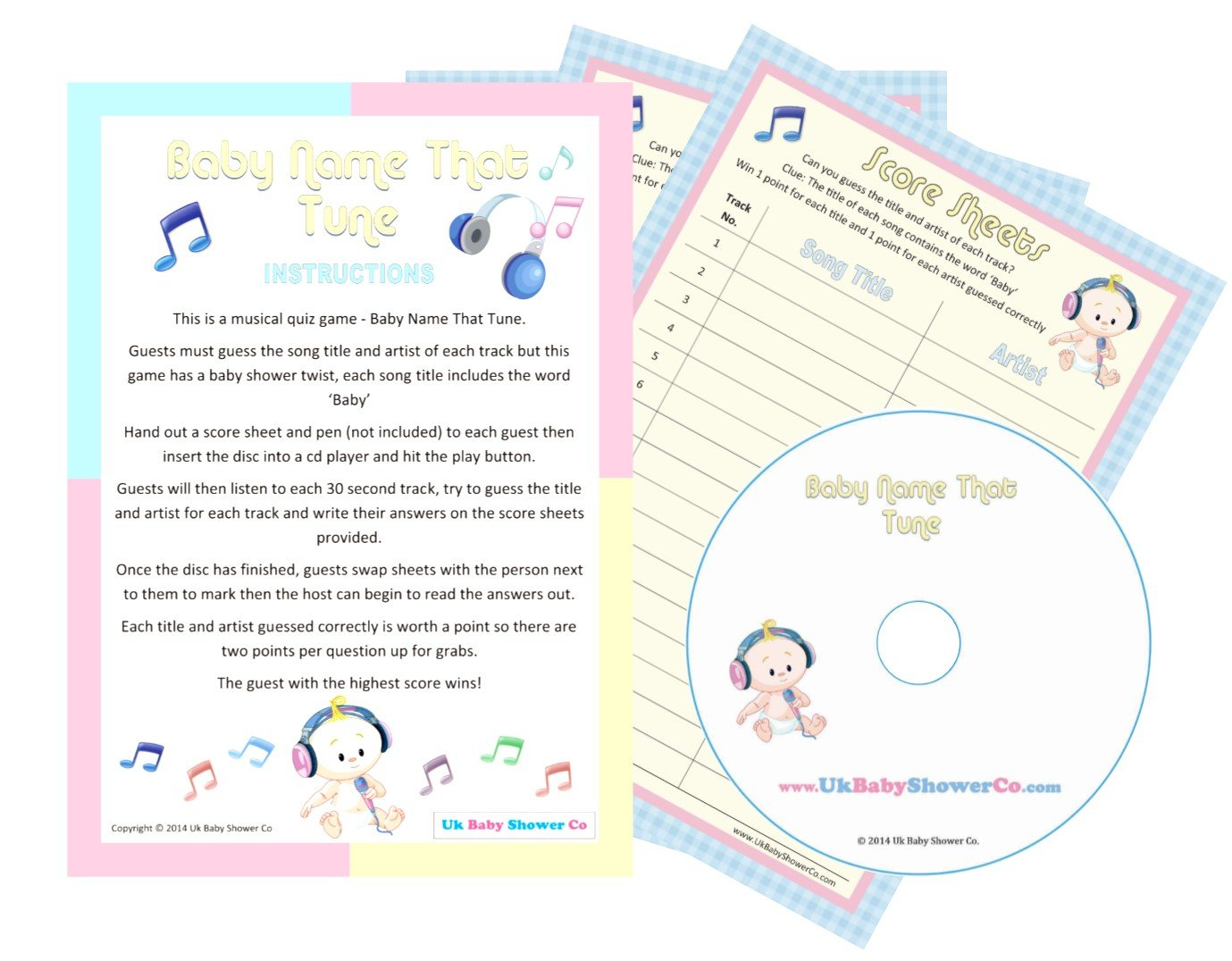 Baby Shower Game Baby Name That Tune Unisex 20 Guests Amazon