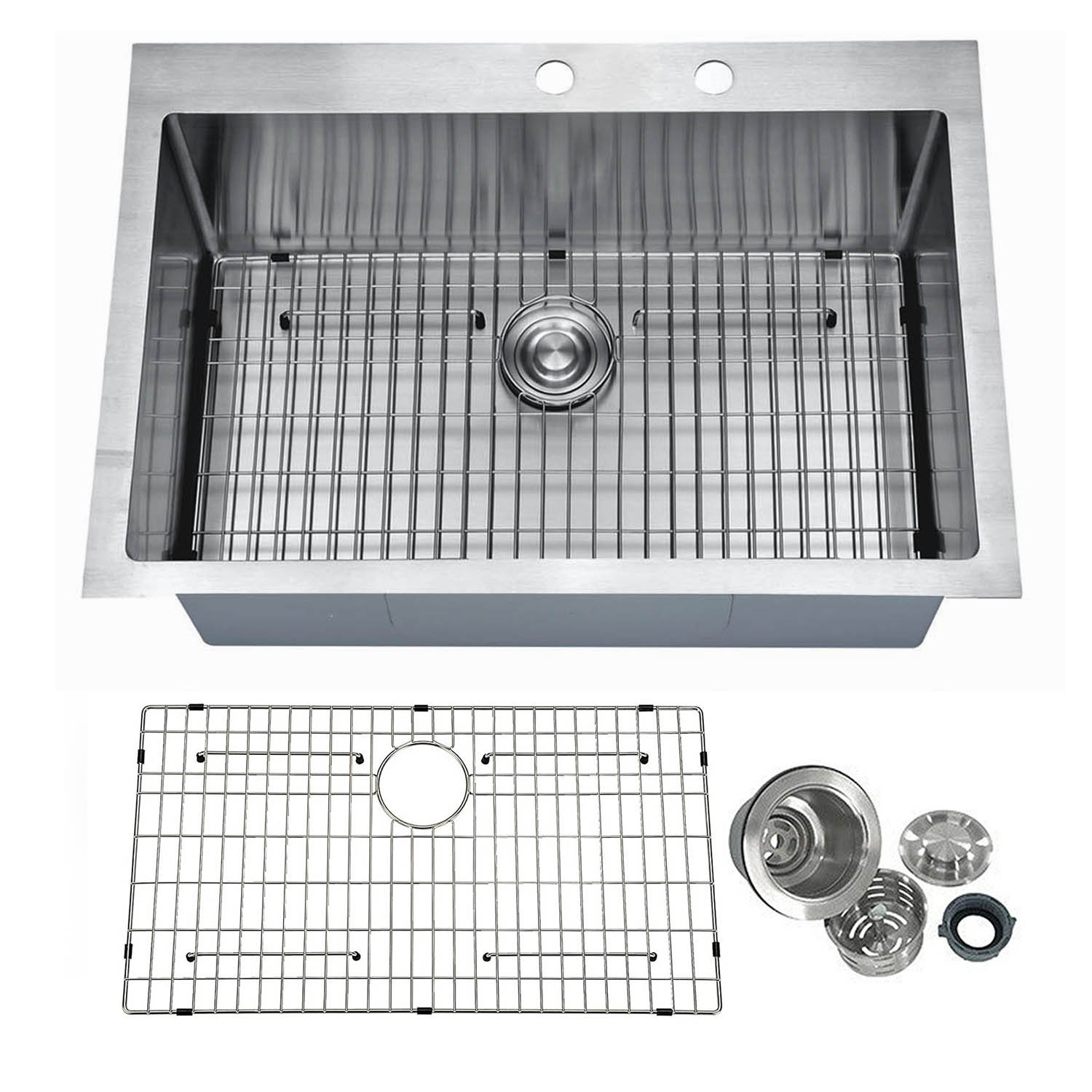 """PRIMART PHT3322S 33 Inch Handcrafted 16 Gauge 10"""" Deep Single Basin Stainless Steel Top mount Drop in Kitchen Sink With 2 Faucet Hole, Bottom Sink Grid & Drainer"""