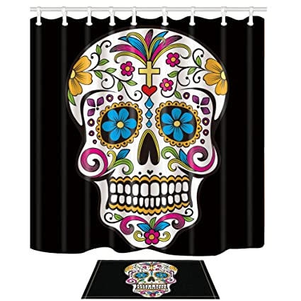 NYMB Weird Shower Curtains Cplourful Skull 69X70in Mildew Resistant Polyester Fabric Curtain Set