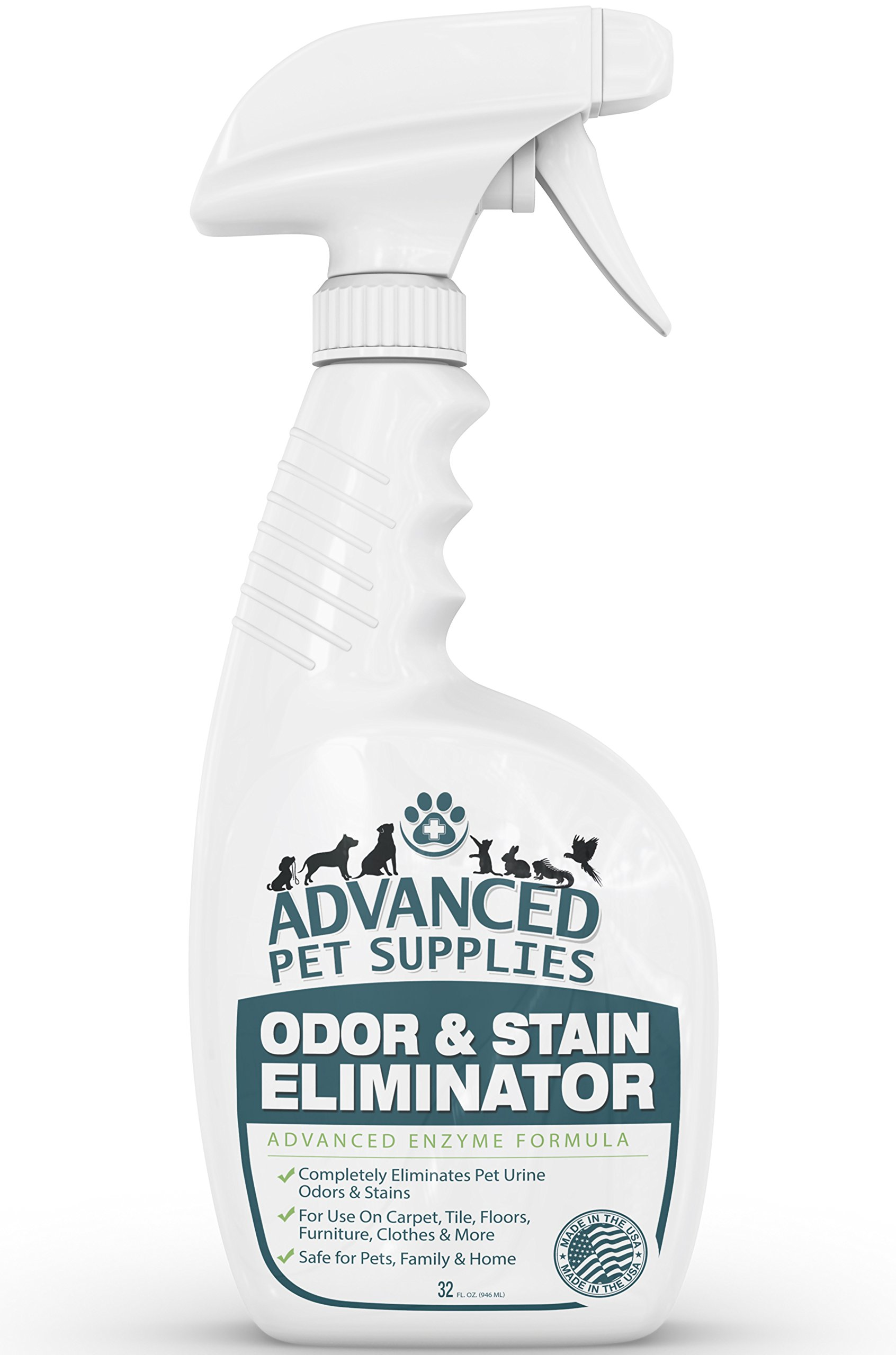 Advanced Pet Supplies Odor Eliminator and Stain Remover Carpet Cleaner with Odor Control Technology, Cat Urine and Dog Pee Neutralizer Spray, Professional Strength Enzymatic Solution, 32 ounce