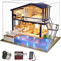 UniHobby Dollhouse Kit DIY Miniature Dollhouse Kit Time Apartment with Music Box Dust Cover Light and Furniture Gift…