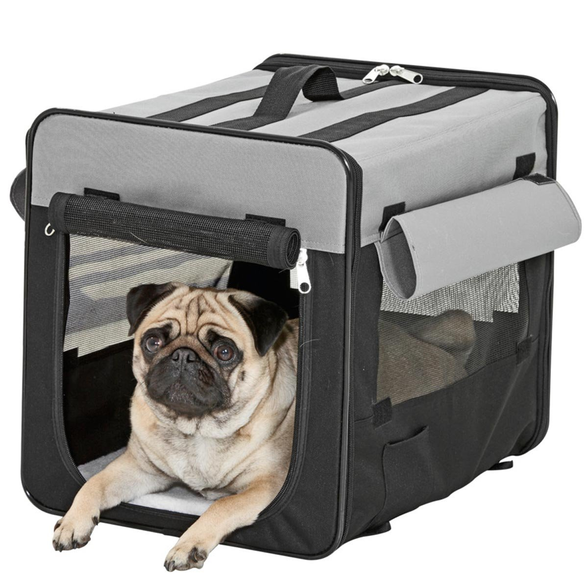 Karlie Flamingo Smart Top Plus Schwarz-Grau faltbare Hunde Transportbox Hundebox in 5Größen